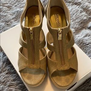 Used, In Great Condition Micheal Kors Gold Wedge